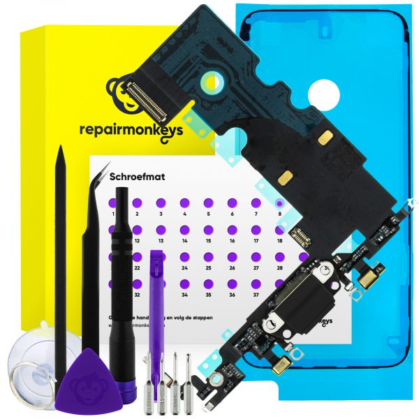Repair Monkeys iPhone 8 zwart dock connector